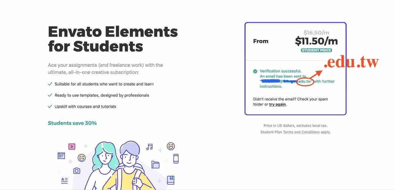 Envato Elements 學生費用