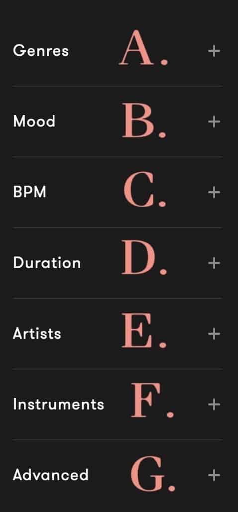 免版稅音樂素材庫Premiumbeat搜尋篩選