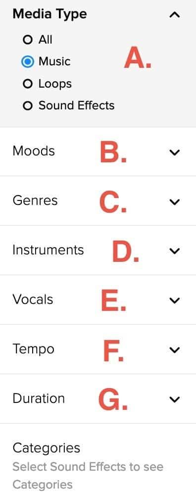 免版稅音樂庫-AudioBlocks-搜尋介面