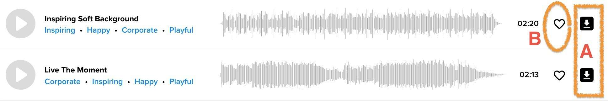 AudioBlocks影片音樂下載界面