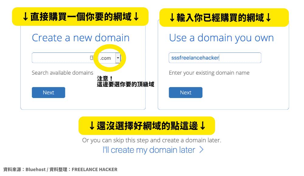 在Bluehost 登記或購買你的網域
