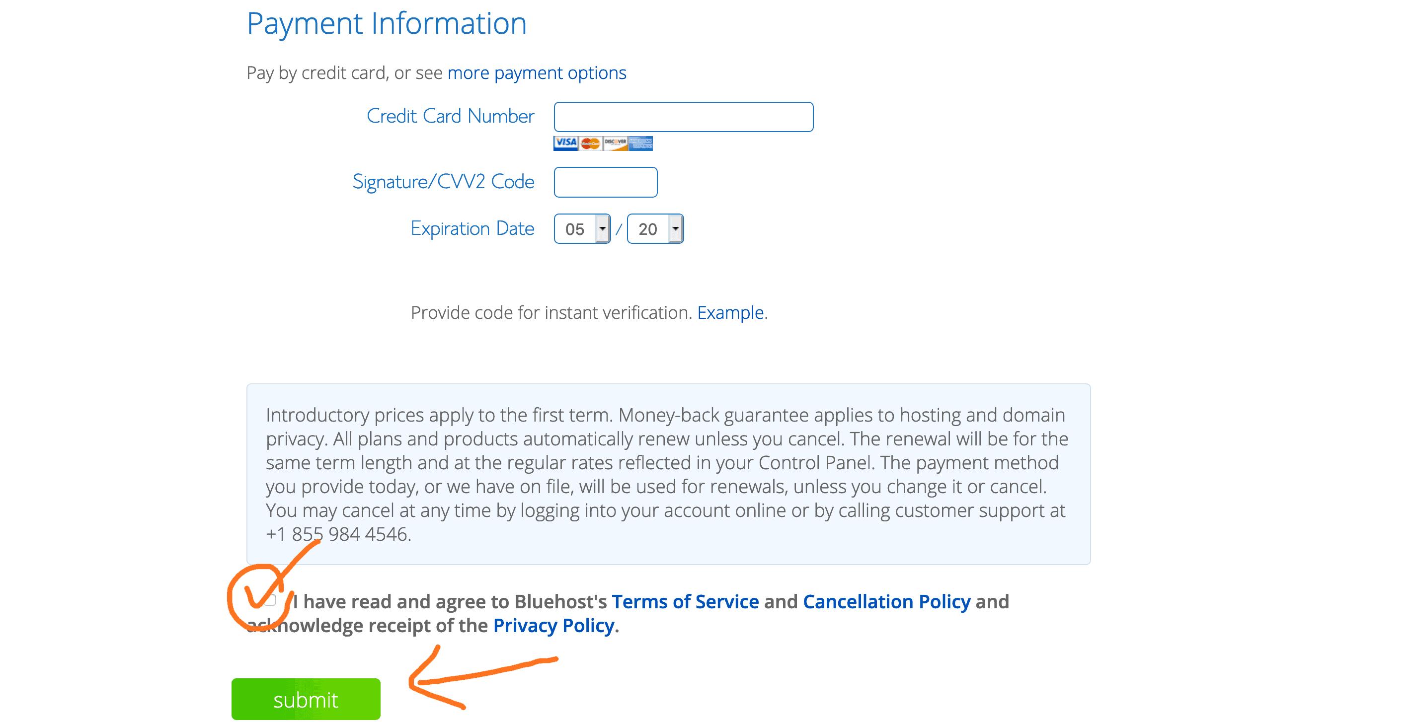 Bluehost 付款頁面