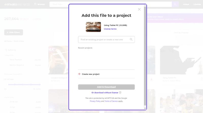 Envato Elements授權方式 輸入你要製作的專案名稱