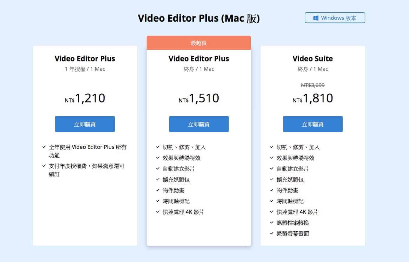 Movavi Video Editor 購買頁面