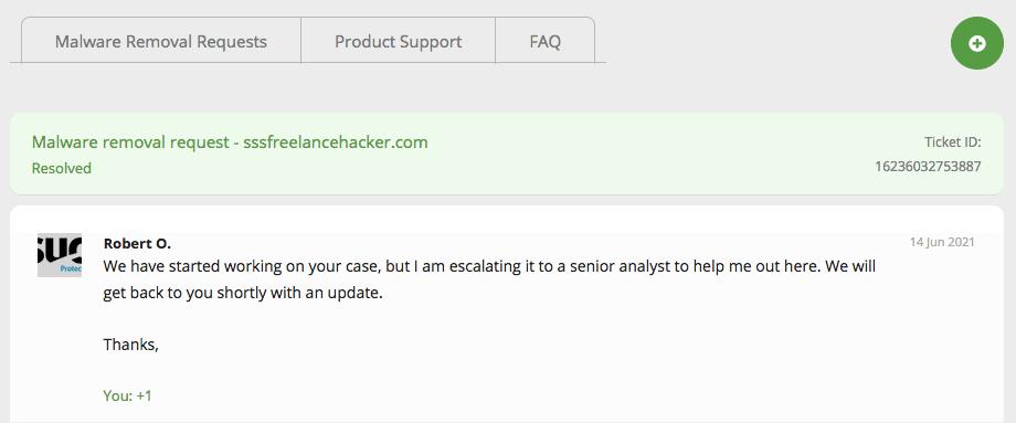 Sucuri移除網頁病毒對話紀錄